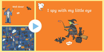 Halloween I Spy Activity Sheet and PowerPoint Pack - Halloween, I Spy, Activity sheet, Powerpoint, resource pack, visual skills, memory, matching