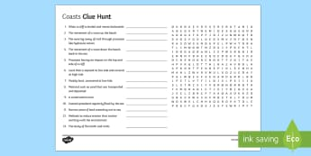 Coasts Clue Hunt Activity Sheet - Coasts, Keywords, Worksheet, Clue Hunt, Revision, GCSE
