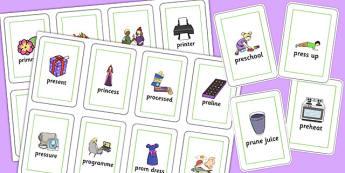 Two Syllable PR Flash Cards - sen, sound, pr sound, pr, sen, two syllable, flashcards
