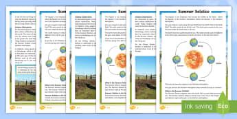 Summer Solstice CfE First Level Differentiated Fact File - Summer Solstice, sun, midsummer, northern hemisphere, daylight, orbit, Stonehenge, seasons,Scottish
