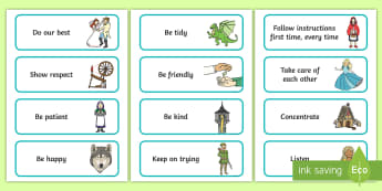Traditional Tales-Themed Class Charter Cards - stories, rules, behaviour, teacher organisation, display, fairy tale, fairy story
