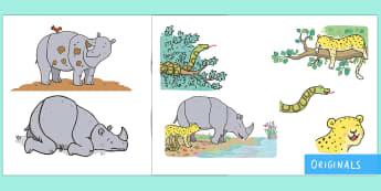 Ronald the Rhino Story Cut-Outs - Ronald the Rhino, rhyming, pattern, story, jungle, Africa, rhino,