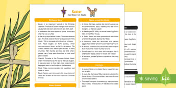 Easter Fact Sheet for Adults - EYFS, Early Years, KS1, festival, RE, Understanding the World, easter
