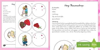Herz Thaumatrop Papiermodell - Valentinstag, Vorschule und Kindergarten, 1./2. Klasse, Kunsterziehung,Bastelaktivitäten und Ideen,