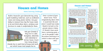 EYFS Houses and Homes Home Learning Challenges Reception FS2 - EYFS Houses and Homes, my environment, homework, home learning, parents, home links, carers, home ac