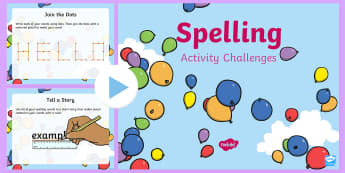 Spelling Activity Challenges PowerPoint - spellings, activities, ks1, year 1, year 2,