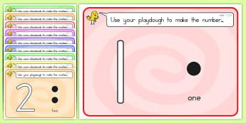 Simple Number Playdough Mats 1 10 - fine motor skills, 1-10, mat