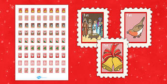 Christmas Post Office First Class Stamps - christmas post office, christmas, post office