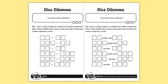 Dice Dilemma Activity - Number and Place Value, problem solving, maths mastery, year 3, fun maths, compare, greater, less, >