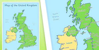 Large UK Map - large, uk, map, united kingdom, britain, country