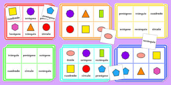 2D Shape Bingo Spanish - spanish, 2d shape, bingo, game, activity, shape, 2d, maths, numeracy