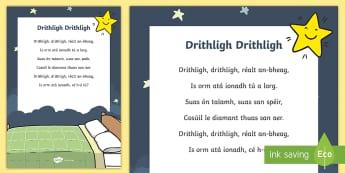 Drithligh Drithligh Song Lyrics - Gaeilge Song Lyrics, traditional Irish songs, amhrán, tradisiúnta, Twinkle Twinkle, Drithligh Drit