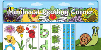 Reading Corner Minibeast Themed Display Pack - reading area, book area, book corner, books, reading, library, reading corner, minibeasts, bugs, ins