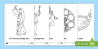 Navratri Themed Colouring Pages - Hindu, festival, durga, garba, activities,