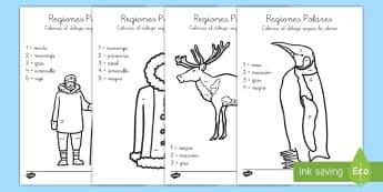 Colorear con números: Las regiones polares - regiones polares, colorear con números, ártico. Ártico, antártida, Antártida, pingüino, esquim
