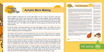 Creative Ways to Encourage Autumn Mark Making Teaching Ideas - Autumn, EYFS, Mark making, mark-making, activities, Acorns, conkers, writing, patterns, drawing, mar