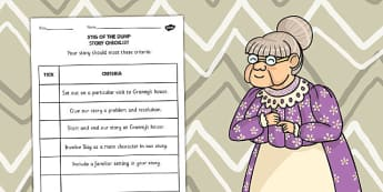 Stig of the Dump Story Checklist with Space for Writing Targets