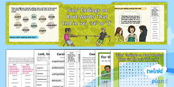 PlanIt Y4 Term 1B W1: -sion Endings (se/de/d root words) Spelling Pack