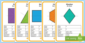 Properties and Symmetry of 2D Shapes Display Posters - English/German  - maths, figures, geometry, EAL, translation - maths, figures, geometry, EAL, translation