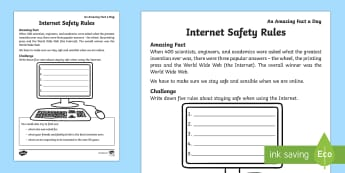 Internet Safety Rules Activity Sheet - Amazing Fact Of The Day, activity sheets, powerpoint, starter, morning activity, January,  world wid