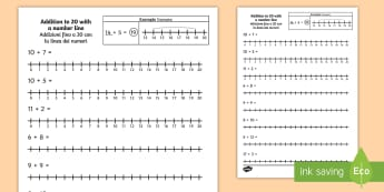 Addition to 20 with a Number Line Activity Sheet English/Italian - Addition to 20 with a Number Line Activity Sheet - number line, +, adition, numberline, additon, wor