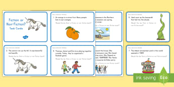 Fiction or Non-Fiction Task Cards - ELA, Common Core, Fiction, Non-Fiction, Genres, Real, Fake