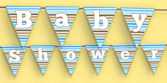 Baby Shower Bunting Blue Themed - baby shower, baby, shower, newborn, pregnancy, new parents, bunting
