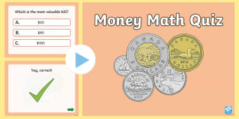 Money Maths PowerPoint Pop Quiz - Math, Primary, Grade 3, Money, Number Sense and Numeration, Addition, Subtraction, Multiplication.