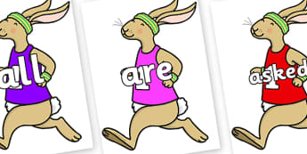 Tricky Words on Running Hare - Tricky words, DfES Letters and Sounds, Letters and sounds, display, words
