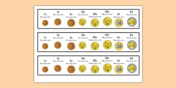 Euro Coins Strips - euro, coins, euro coins, strip, money, europe