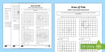 Area of Fish Father's Day Themed Measurement Activity Sheet - ACMMG087, area, Square centimetres, count squares, compare areas, year 4 maths, father's day, fathe