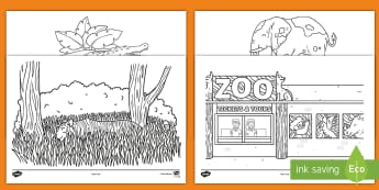 Who's at the Zoo? Colouring Pages - exploring my world, aistear, story, zoo, literacy, numeracy, oral language, reading, animals, tiger,