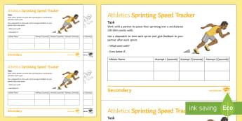Athletics: Sprinting Speed Tracker Activity Sheet - athlete, olympis, running, sprinting, sprint start