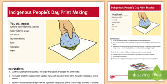 Indigenous Peoples Day Print Making Craft -  Aborigine, African, Native American, Indian, Inuit,