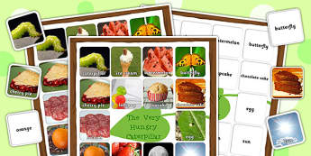 Photo Word Mat and Matching Cards to Support Teaching on The Very Hungry Caterpillar