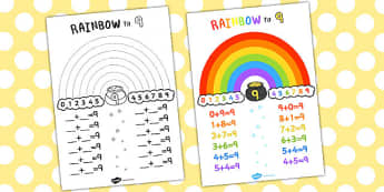 Rainbow to 9 Display Poster - displays, posters, visual aids