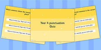 Year 4 Punctuation PowerPoint Quiz - year 4, punctuation, quiz