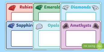 Precious Gems Group Table Signs - precious gems, group, table, signs, display, table signs