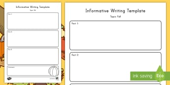 Fall Topic Informative Writing Template - Graphic Organizer, Common Core, ELA, Autumn, Informative Writing, Explanatory Writing