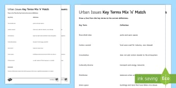 Urban Issues Mix and Match 1 Activity Sheet - Urban Issues and Challenges AQA GCSE, key terms, match, worksheet
