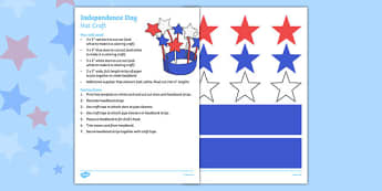 4th of July Hat Craft - 4th of July Crafts. usa, america, 4th of july, independence day, hat craft