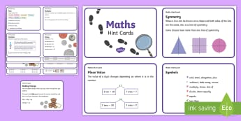 KS1 Maths Hint Cards - revision, reminders, strategies, numeracy, facts