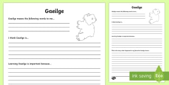 Gaeilge Reflection Writing Template - writing template, subject, self assessment, feelings, Gaeilge, Irish, languages, core subject