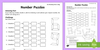Number Puzzles Activity Sheet - calculations, KS1, amazing fact august, maths, number investigations, worksheet