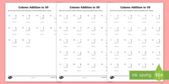 Column Addition to 50 Activity Sheets - Formal Method, Add, Sum, Plus, Total, worksheets, 2 digit, tens, units, ones