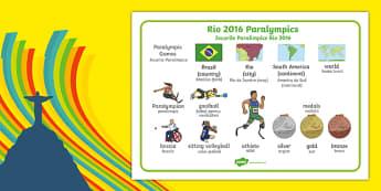 Rio Paralympics 2016 SEN Word Mat Romanian Translation-Romanian-translation