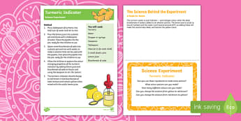 EYFS Turmeric Indicator Science Experiment and Prompt Card Pack