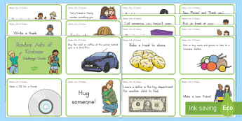 Acts of Kindness Challenge Cards - Kindness, random act of kindness, act of kindness, relationships, friendship, caring, task cards