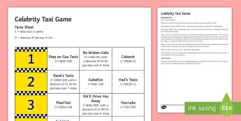Celebrity Taxi Game - Substitution, formulae, Algebra, game