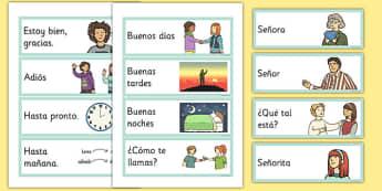 Greetings Flashcards Spanish - spanish, greetings, flashcards, flash cards